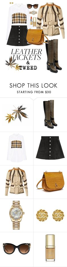 """""""LEATHER JACKET & TWEED"""" by karlamy ❤ liked on Polyvore featuring Sea, New York, AG Adriano Goldschmied, Belstaff, Mulberry, Rolex, Chanel, Krewe, Dolce&Gabbana and Elizabeth Arden"""
