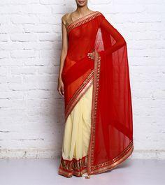 Red & Cream Georgette Embroidered Saree #indianroots #ethnicwear #saree #georgette #embroidered