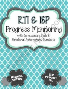 The framework for RTI and IEP progress monitoring and resources to track progress. Elementary School Counseling, School Social Work, School Counselor, Elementary Schools, Intervention Specialist, Response To Intervention, Reading Intervention, Reading Fluency, Special Education Classroom