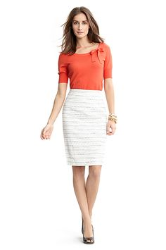 White skirt with a bright color shirt
