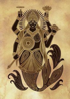 Matsya (Fish) Avatar of Lord Vishnu Avatar, Indian Illustration, Pichwai Paintings, Lord Vishnu Wallpapers, Indian Folk Art, Madhubani Painting, Hindu Deities, Krishna, Hindu Art