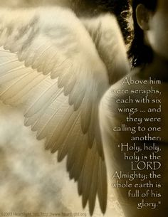 """Above him were seraphs, each with six wings and they were calling to one another: """"Holy, Holy, Holy is the Lord almighty; the whole earth is full of his glory.""""  Isaiah 6:2  [Video by Delirious? - 'Holy is the Lord']"""