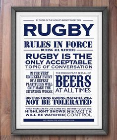 Printable Rugby House Rules Typographic Sports by SamOsborneStore, 5.00