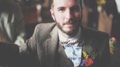 Groom wears a brown three piece suit and stripy bow tie | Images by http://www.costasisterproductions.co.uk/