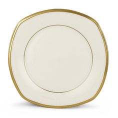 Lenox Eternal Square Accent Plate, White (Bone China, Banded)