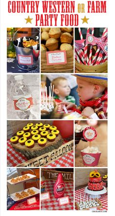 These ideas are all equally good for country western, cowboy, cowgirl, farm and John Deere tractor parties, so put on yer boots and get ready for the recipes! ; )