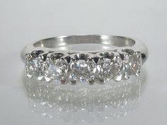 Five Diamond Wedding Ring  Vintage 0.55 Carats by lonestarestates, $800.00