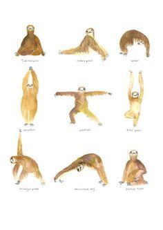 Watercolor sloths do yoga. {Animals Doing Yoga} Baby Sloth, Cute Sloth, Yoga Meditation, Image Yoga, Yoga Kunst, Funny Animals, Cute Animals, Yoga Art, My Spirit Animal