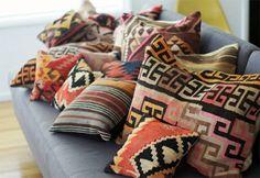 colorful  cozy kilim cushions