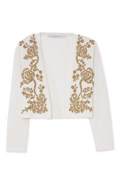 Ivory Bolero With Gold Embroidery by Carolina Herrera