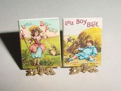 Miniature Books - Little Bo Peep and Little Boy Blue - Father Tuck - McLoughlin Bros - Dollhouse Accessory, One Inch Scale