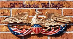 """Size:  24.0"""" wide x 7.5"""" high.  Beautiful WALL SCULPTURE for Indoor OR Outdoor display.  Constructed of sturdy CAST ALUMINUM - Rust Free!  Hand Painted with special, weather-resistant paints in Red, White, Blue & Gold.  3D Wall Mount Design. Available also in """"solid black"""" color:  Contact Sign of Distinction at 850-733-2700 or email us for more information. We ship anywhere in the world.  Please email us for a quick, free quote!"""