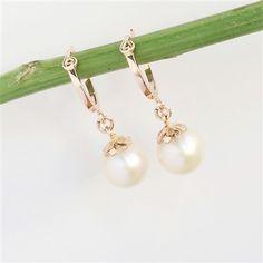 Bông tai Ngọc trai vàng hồng | Freshwater pearl hoop earrings in rose gold | Trang sức ngọc trai | AME Jewellery