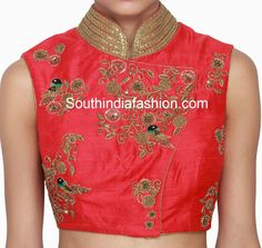 Raw silk collar neck blouse featuring beautiful parrot and floral design zardosi work and embellished with sequins over the collar. Related PostsCollar Neck Net Blouse DesignsTrendy Collar Neck Designer BlouseParrot Design Zardosi Work BlouseHigh Neck Raw Silk Blouse