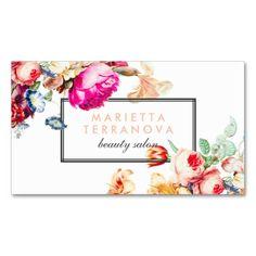 Elegant vintage chic floral striped beauty salon business card                                                                                                                                                                                 More