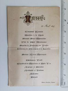 "Antique French MENU 1897 FRENCH GASTRONOMY with beef ""Renaissance"" - embossed Gold Letters Vintage Nantes de la boutique FELIXsoFRENCH sur Etsy"