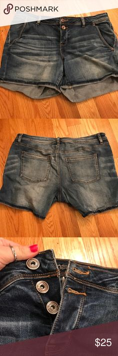 Jean Shorts perfect condition. only worn once! these run big for sure. super cute and very stretchy material :) Maurices Shorts Jean Shorts