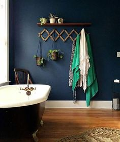 Looking for Blue Bathroom ideas? Browse Blue Bathroom images for decor, layout, furniture, and storage inspiration from HGTV. Dark Blue Bathrooms, Navy Bathroom, Wood Bathroom, Master Bathroom, Small Bathrooms, Bathroom Ideas, Bathroom Accents, Master Baths, Brown Bathroom