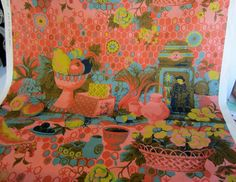 SOLD!-Vintage 1960s Fabric-Home Décor-Chinoiserie-Cotton-Kitchen Dining-Asian Theme-By the yard
