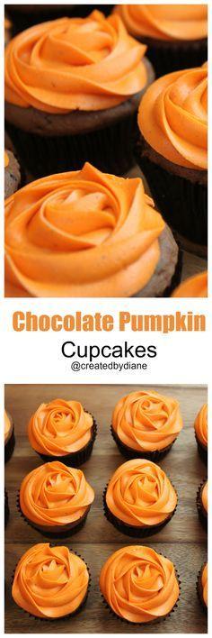 chocolate pumpkin cupcakes from @createdbydiane
