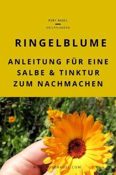 Ringelblume ist eine super Erste-Hilfe-Pflanze und gehört für mich in jede Hausapotheke. Wie du dir eine Salbe und Tinktur selber herstellst und anwendest, erfährst du im Blogartikel. #ringelblume #hausmittel #kräutersammeln #rubynagel Super, Hacks, Knowledge, Home Remedies, Marigold Flower, Herbal Medicine, Tips