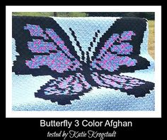 Crochet Afghans Design Butterfly 3 Color Afghan Graph with Written Word Chart C2c Crochet Blanket, Graph Crochet, Pixel Crochet, Crochet Afgans, Crochet Blankets, Free Crochet, Afghan Crochet Patterns, Crochet Stitches, Corner To Corner Crochet Pattern