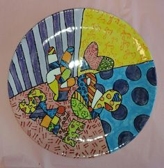 A customer's bright and vibrant Britto plate, painted at Craft & Clay.