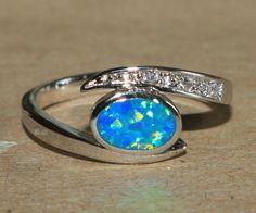 blue fire opal Cz ring gemstone silver jewelry Sz 8 elegant cocktail style C7W #Cocktail