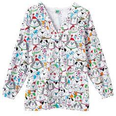 "White Swan Women's ""Perfect Gift"" Holiday Cardigan Scrub Jacket from http://shop.advanceweb.com."