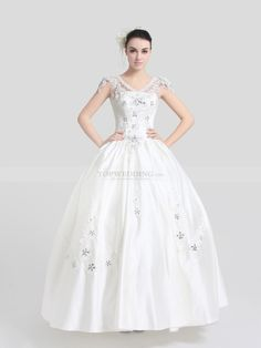 Ivory V Neck Satin Ball Gown with Rhinestone Appliqued Bodice and Flower