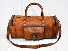 "24""Men's genuine Leather luggage gym weekend overnight, Travel, Duffle, GYM-BAG #Unbranded #DuffleGymBag"