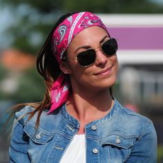 Add a bright touch to your day with this vibrant pink silk-cotton bandana by www.annetouraine.com