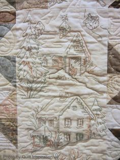 Quilt Inspiration: The Advent of Christmas: Day 12 Free Motion Embroidery, Embroidery Stitches, Hand Embroidery, Embroidered Quilts, Applique Quilts, Primitive Snowmen, Primitive Crafts, Primitive Christmas, Country Christmas