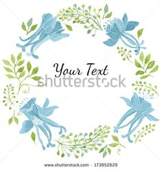 Elegant floral wreath with green leaves and blue flowers. Great for thank you notes or invitations. Vectorized watercolor drawing.