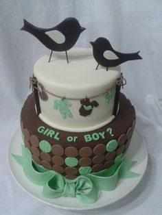 - Cake inspired by the invitations.  Birds are out of gumpaste.  Everything else out of fondant.