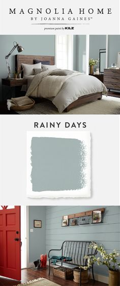 The light blue-gray hue of Rainy Days, from the Magnolia Home by Joanna Gaines™ Paint collection, is versatile enough to be paired with a variety of color palettes. Use pops of bright color, like this red front door, to give this chic interior paint color Casa Magnolia, Magnolia Homes Paint, Magnolia Paint Colors, Paint Colors For Home, House Colors, Blue Gray Paint Colors, Modern Paint Colors, Blue Gray Walls, Living Room Paint Colors