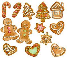 Gingerbread Cookies Clipart Christmas by SwiejkoForPrint, $6.80: