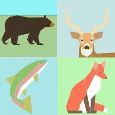 Set of 4 Wildlife paperpiecing patterns PDF by SchenleyP on Etsy