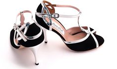 Comme il Faut - Gamuza Negra Plata Volcado - Lisadore - Argentina Tango Shoes - Salsa Shoes - Dancing Shoes