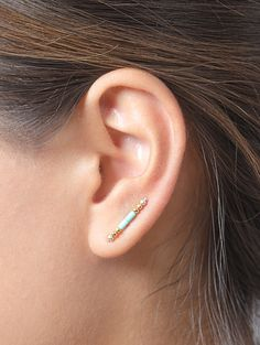 Turquoise and Gold Ear Cuff, Beads Ear Sweep, Gold Beads Ear Wrap, Minimalist, Boho, Modern Jewelry, Hand Made, Gift for Mom, EC005