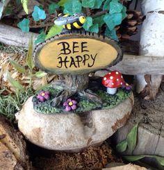 Fairy Garden  TREE Sign  w bumble bee  BEE HAPPY  Miniature handmade  red Amanita muscaria fly agaric amanita on Etsy, $12.95