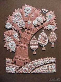 Великоднє дерево - Войнова Евгения Clay Art Projects, Clay Crafts, Projects For Kids, Diy And Crafts, Crafts For Kids, Pottery Angels, Biscuit, Plaster Art, Easter Tree