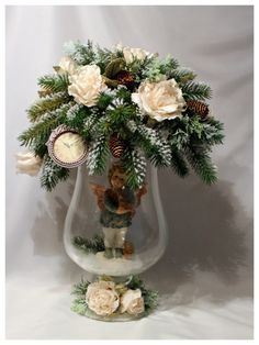 ru / Photo # 11 - New Year 2 - Gallery.ru / A photo – New Year 2 -… - Christmas Flower Arrangements, Christmas Flowers, Floral Arrangements, Christmas Wreaths, Christmas Crafts, Christmas Ornaments, Silver Christmas Decorations, Christmas Table Settings, Christmas Candles