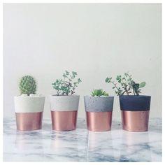 Cuivre trempé pots de ciment petits planteurs ou bougeoirs pour cactus, plantes grasses ou bougies en noir, blanc ou gris béton en porcelaine