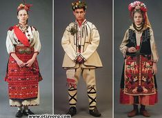Bulgarian folk costumes.  Left: ritual maiden costume of sister-in-law. Middle: male wedding dress. Right: ritual maiden costume of Lazarki.