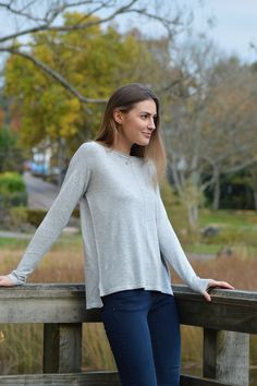 Happy Kinda Life - Round neck jumper with rolled hem at neck for a fashion savvy finish, a bang on-trend hi-low hem and a flirty centre seam means this jumper has all the style features you need. This jumper will work with nearly everything in your winter wardrobe.