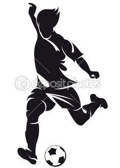 Jugador de fútbol (soccer) vector ejecutando silueta con bola — Ilustración de…