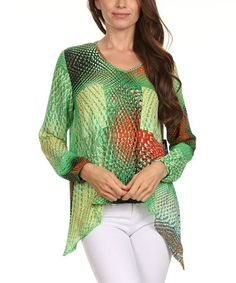 Look what I found on #zulily! Green Abstract Sidetail Top - Women & Plus #zulilyfinds