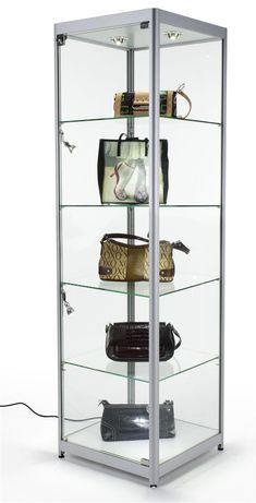 "20"" Glass Display Case w/ Halogen Lighting, Fixed Shelves, Hinged Door - Silver"