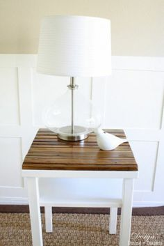 DIY side table makeover with naturally distressed wood. Perfect for that farmhouse look.
